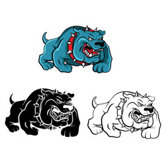 Coloring book Bull Dog cartoon character