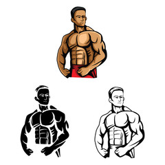 Coloring book Body Builder cartoon character