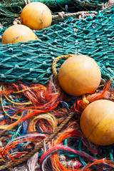 Lobster or fishing floats with colorful netting