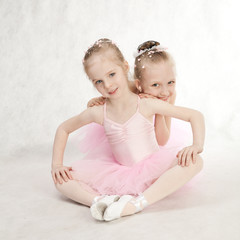 Two little ballet-dancers in the tutu