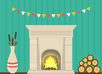 illustration - a fireplace in the living room interior