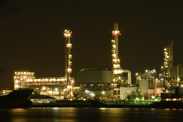 Oil refinery at night.