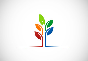 plant leaf ecology abstract vector logo