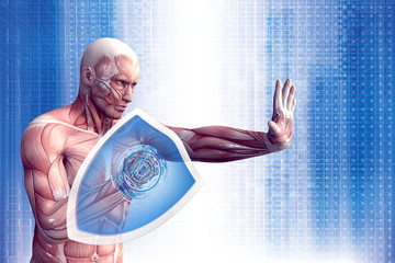 Man with a shield (anatomical vision) are protected from disease.