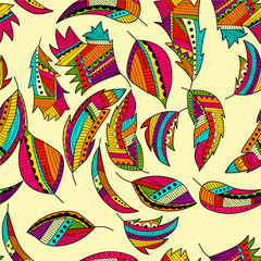 Seamless pattern background with abstract ornaments. Hand draw i