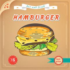 Fast food image. Hamburger banner