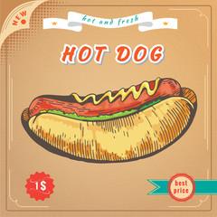 Fast food image. Hot dog banner