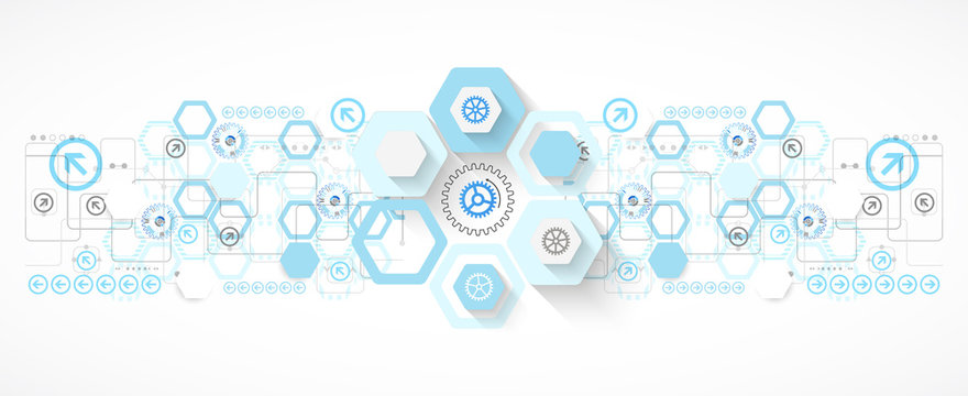 Abstract blue hexagon futuristic background for design works