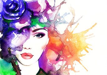 Autocollant pour porte Portrait Aquarelle woman portrait .abstract watercolor .fashion background