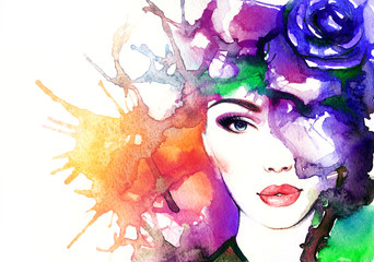 Poster Portrait Aquarelle woman face.abstract watercolor .fashion background