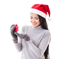 happy woman with red gift box and christmas santa hat