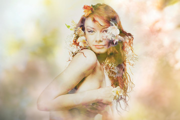 double exposure portrait of young woman in flowers