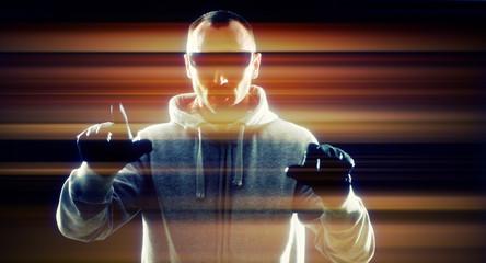 Futuristic virtual thief hacker