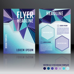 Vector brochure flyer template design with geometric triangular