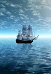 Lonely sailing ship in ocean