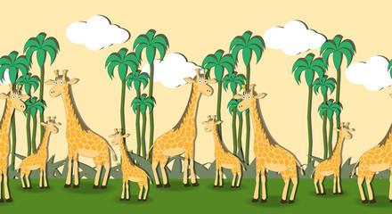 Seamless pattern with cartoon giraffes