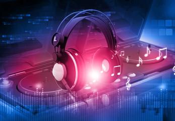 Dj mixer with headphones, Dj party background .