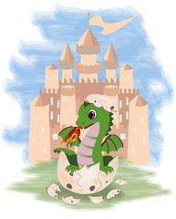 Little fairy dragon and castle, vector illustration