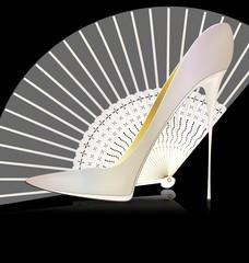 white shoe and fan