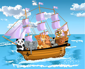 animals floating on a ship