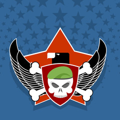 Army logo. skull is in charge on  shield. Against the backdrop o