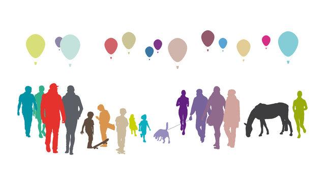 Viele Menschen, Menschengruppe mit Ballons, Freizeit und Hobby, gemeinschaftliches Leben in der Stadt, Urbanität, urbane und mobile Gesellschaft, Silhouette