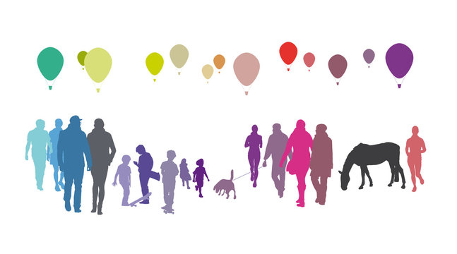 Menschen in Bewegung - Ballons, Silhouette einer Menschengruppe, Hobby, Freizeit, Leute in der Stadt, vektor, isoliert
