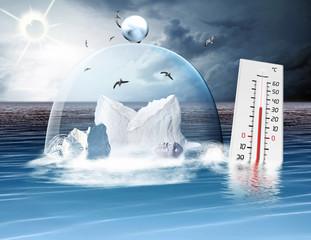 Klimaerwärmung, Thermometer, Eisberge mit Glasglocke im Ozean