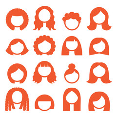 Woman hair styles, wigs icons - ginger