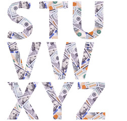 Letters of alphabet made of one hundred dollars isolated on