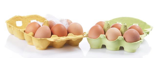 Eierkartons mit Hühnereiern Freisteller