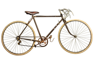 Keuken foto achterwand Fiets Vintage rusted race bike isolated on white