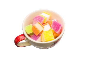 Colorful jelly candies in square shape