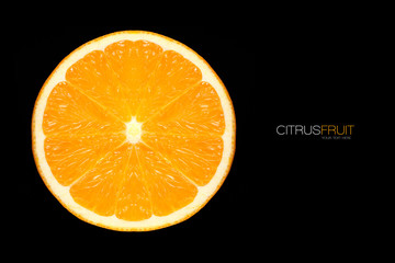 Closeup of Healthy fresh orange slices. Template Design