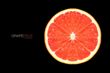 Closeup of Healthy Fresh Grapefruit Slice. Template Design
