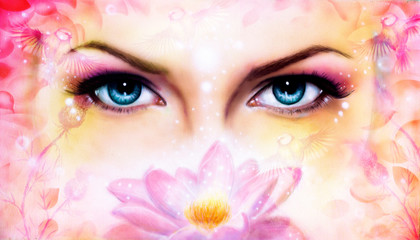 blue women eyes beaming up enchanting from behind a blooming ro