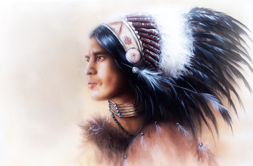 beautiful painting of a young indian warrior wearing a gorgeous