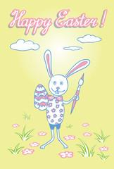 Easter Bunny with egg and brush in one hand.