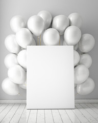 mock up poster in interior background with white balloons