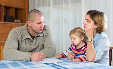 Serious parents discussing parental guardianship