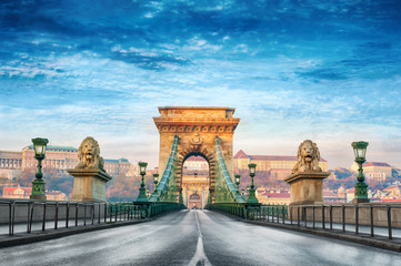 Printed kitchen splashbacks Budapest Chain bridge Budapest Hungary