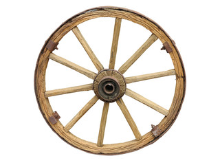 Antique Cart Wheel made of wood and iron-lined isolated