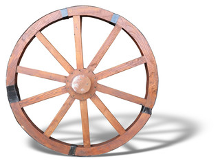 Antique Cart Wheel made of wood and iron-lined with shadow isola