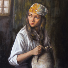 oil on canvas of a woman with amphora