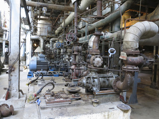 Electric motors driving industrial water pumps during repair
