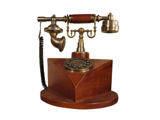 Vintage old style wooden phone with retro disc dial isolated
