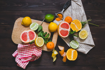 Mix of Citrus Fruits on the chopping board
