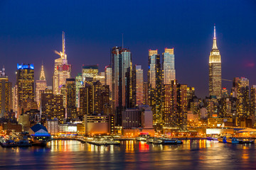 Wall Mural - New York City Manhattan midtown buildings skyline night