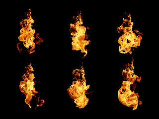 Fire flames collection isolated on black background Wall mural