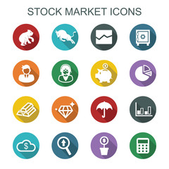 stock market long shadow icons